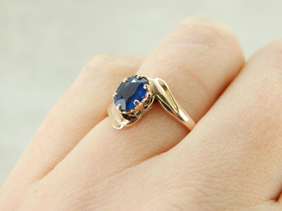 Sapphire Bypass Ring in Warm Rose Gold