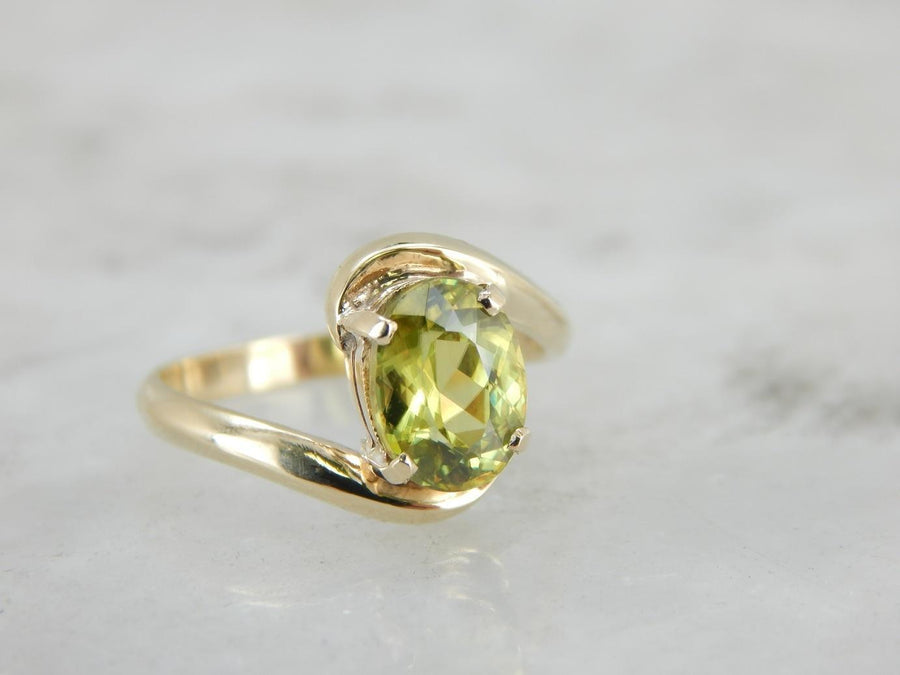 New Leaf Green Sphene Bypass Ring