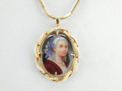 Noble Women, Painted Enamel and Pearl Pendant