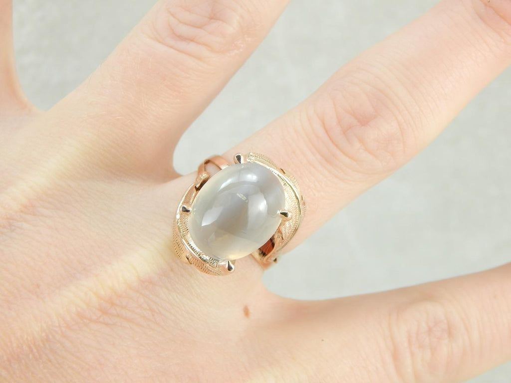 Ethereal Sillimanite Cocktail Ring with Feathered Shoulders