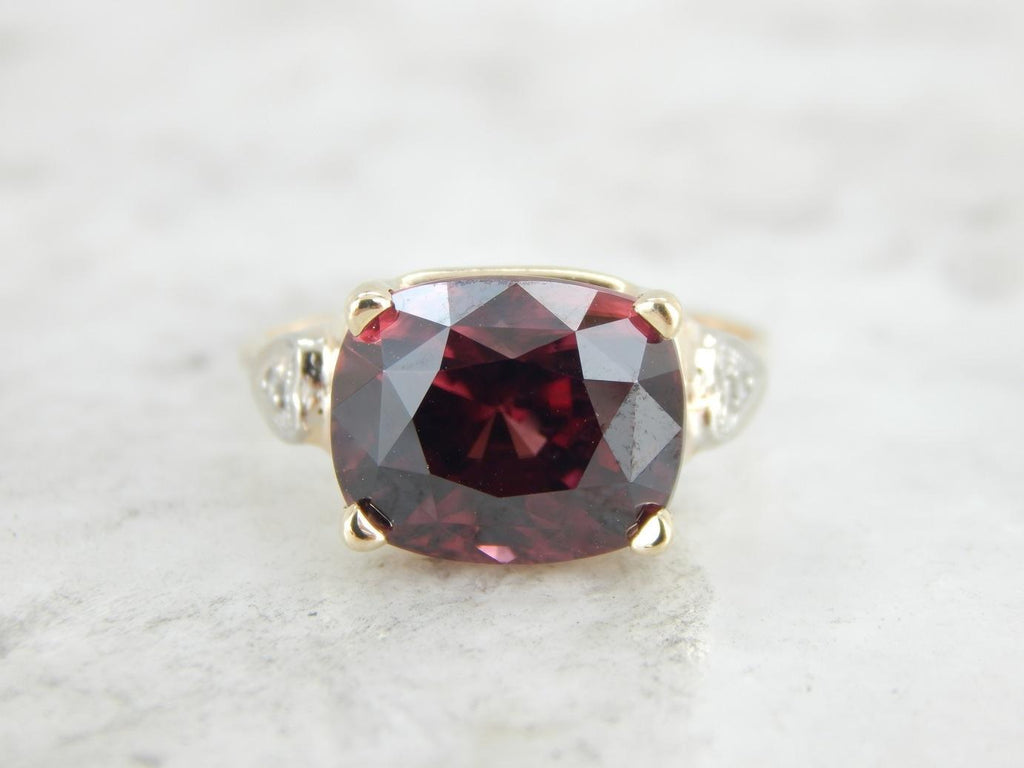 Old Time Rose Zircon and Diamond Retro Era Cocktail Ring