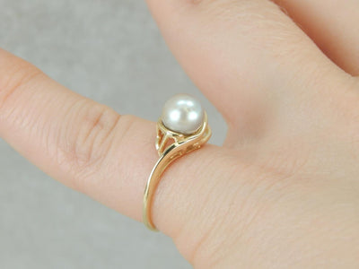 Grey Pearl and Diamond, Solitaire Bypass Cocktail Ring
