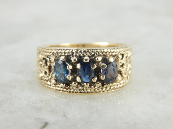 Natural Alexandrite and Sapphire Stacking Band