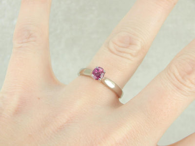 Pink Sapphire Solitaire White Gold Engagement Ring
