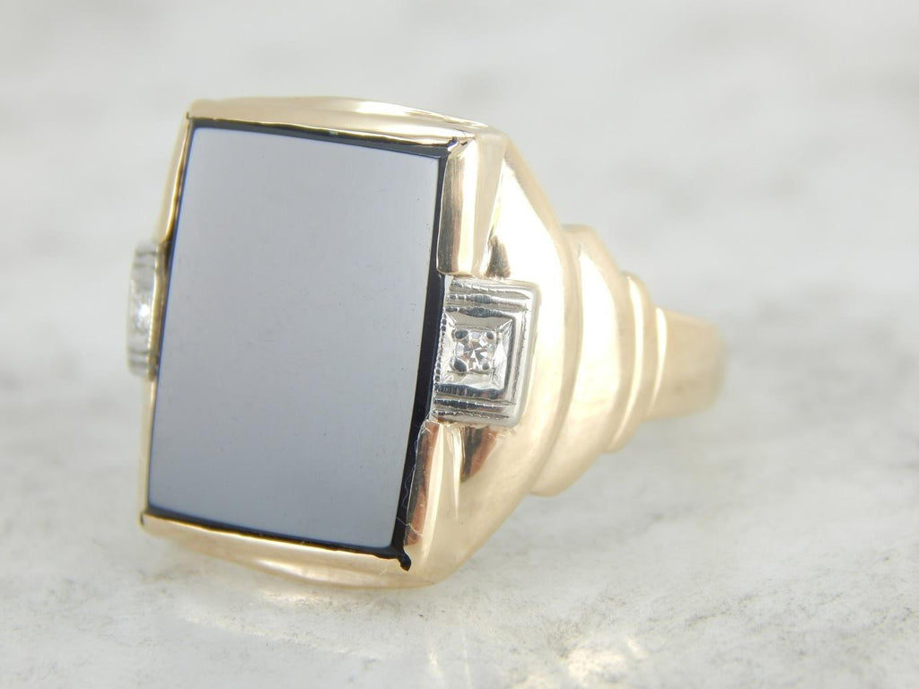 Classic Black Onyx and Diamond Men's Ring