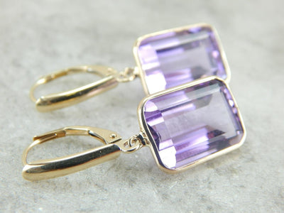 Amazing Amethyst Drop Earrings, Polished Stones, Perfect Bezel Settings