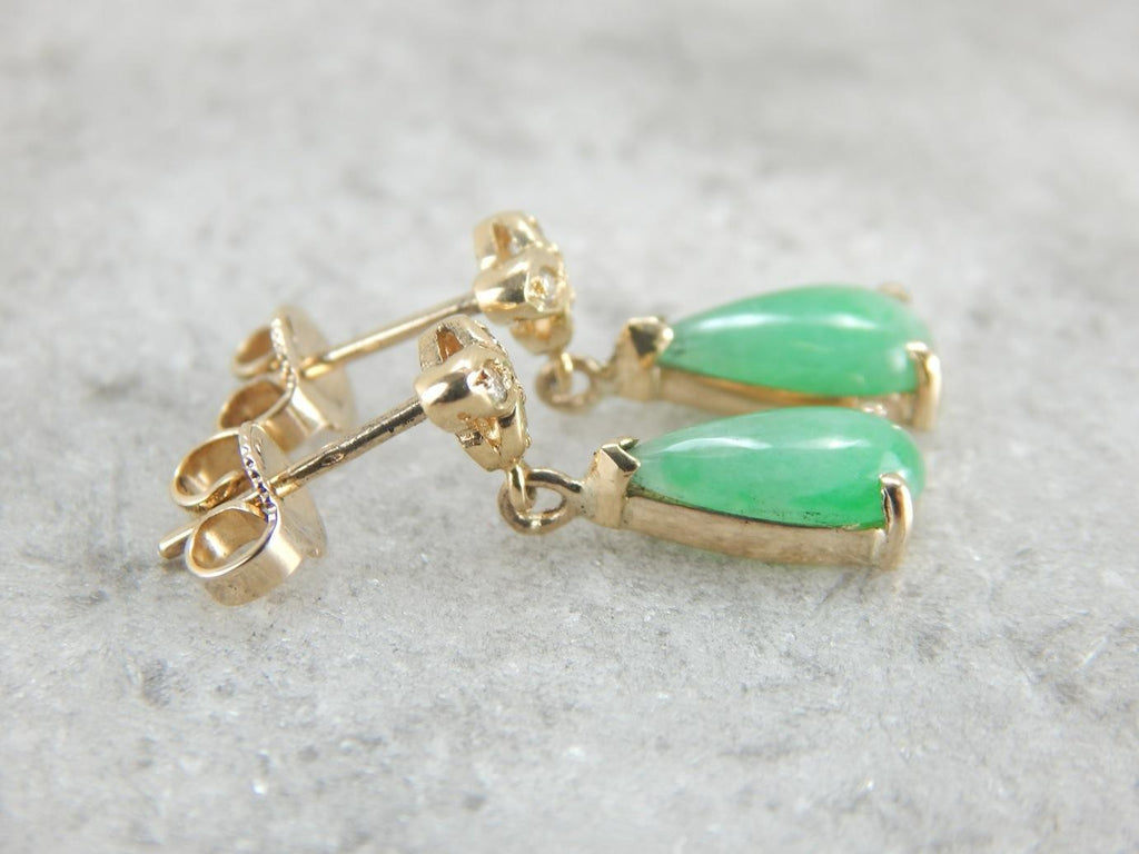 Champagne Diamonds and Natural Jade Drop Earrings