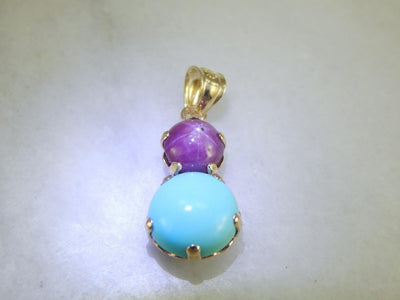 Star Sapphire and Turquoise Drop Pendant