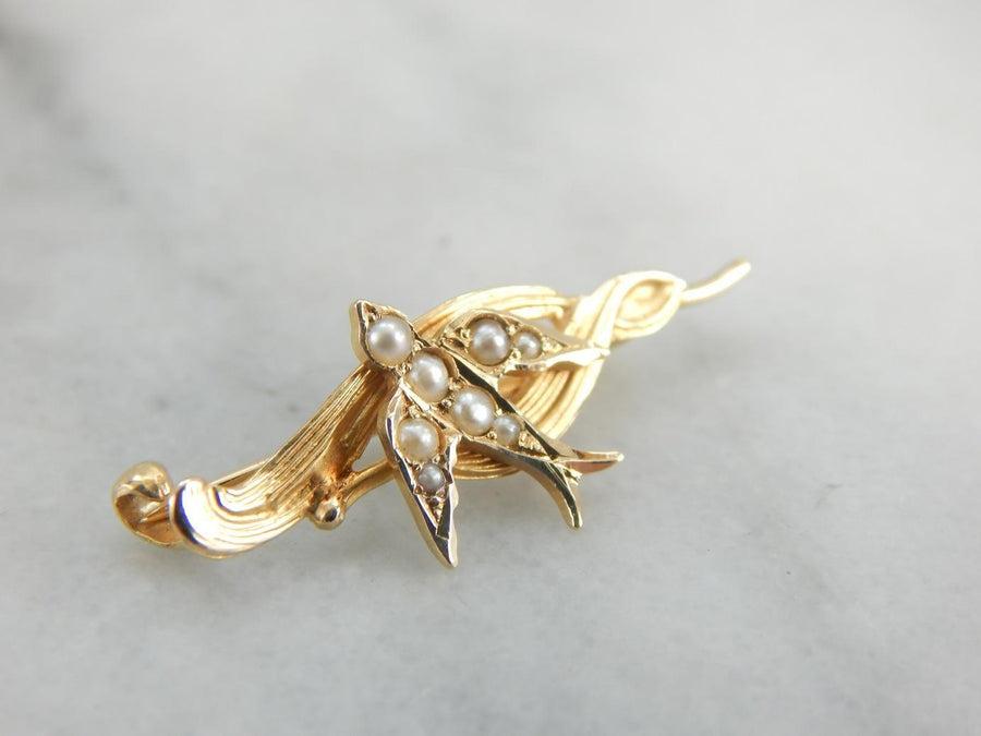 Classic Sparrow in Seed Pearls Art Nouveau Brooch