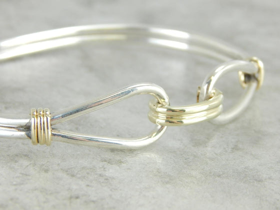 Sterling Silver and Gold Bracelet Bangle Bracelet with Great Lines