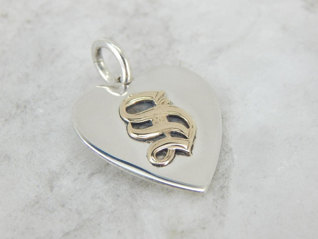 Silver Heart Pendant with S Initial