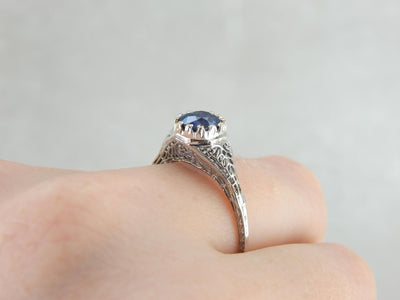 Gorgeous Sapphire, Art Deco Filigree Engagement Ring
