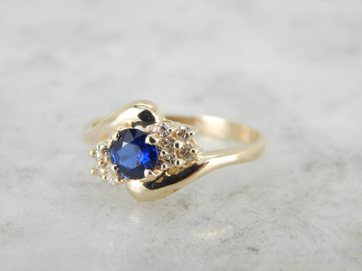Sapphire and Diamond By-Pass Style Cocktail Ring