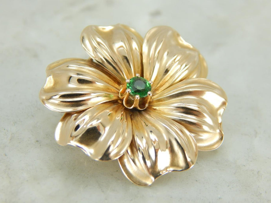 Lovely Flower Brooch with Demantoid Garnet Center