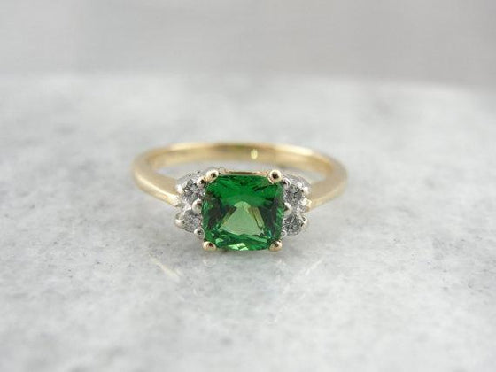 Green Tsavorite Garnet and Diamond Two Tone Gold  Ring