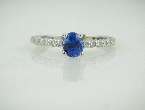 Sapphire and Diamond Ladies Engagement or Stacking Ring
