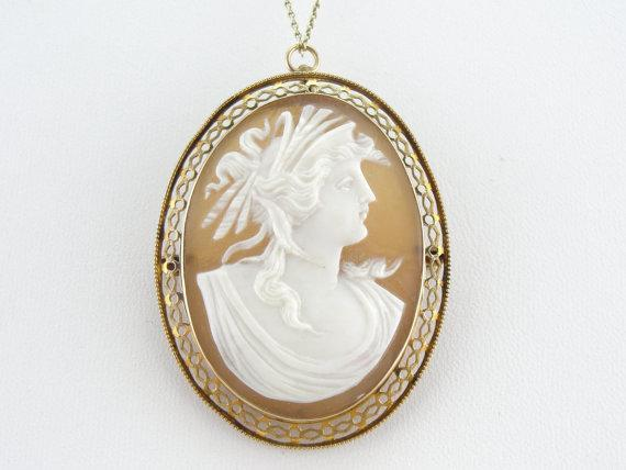 Gorgeous Gibson Girl Cameo with Diamond Pendant