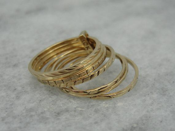 Stacking Band Set with Great Engraved Details