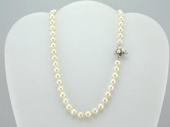 Retro Fine Cultured Pearl and Diamond Necklace Floral Motif Clasp