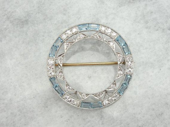 Edwardian Platinum Pin with Diamonds & Aquamarines