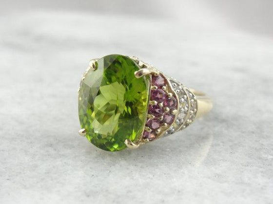 Peridot, White Topaz and Pink Rhodolite Garnets Large Cocktail Ring