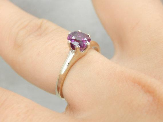 Victorian Style Plum Sapphire Engagement Ring