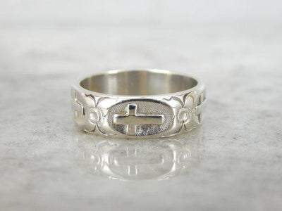 Religious Cross and Floral Patterned White Gold Band