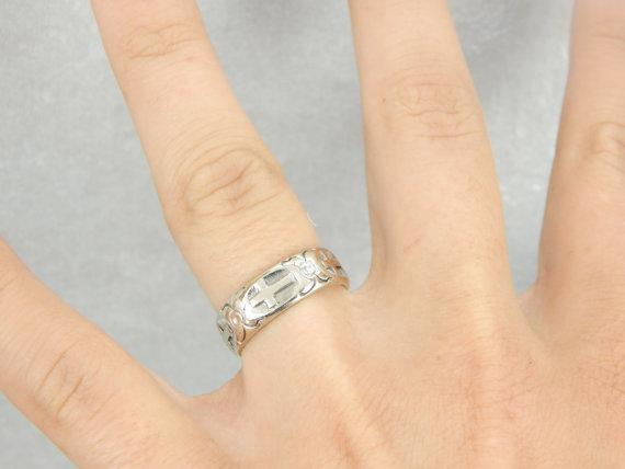 14k White Gold Band with Cross and Floral Pattern