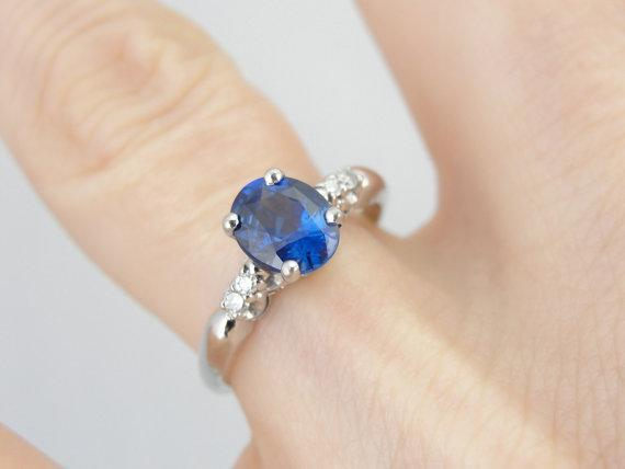 Grand Blue Ceylon Sapphire and Diamond Ring for Engagement or Everyday