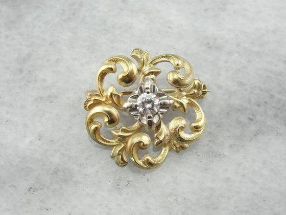 14K Gold Love Knot, Victorian Diamond Brooch