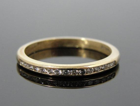14k Gold and Diamond Channel Set Wedding Band