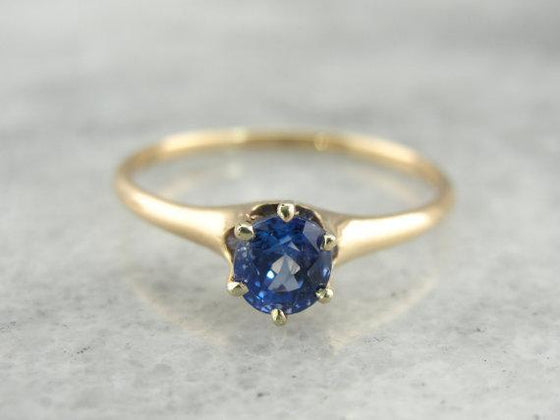 Antique Blue Ceylon Sapphire Solitaire Engagement Ring
