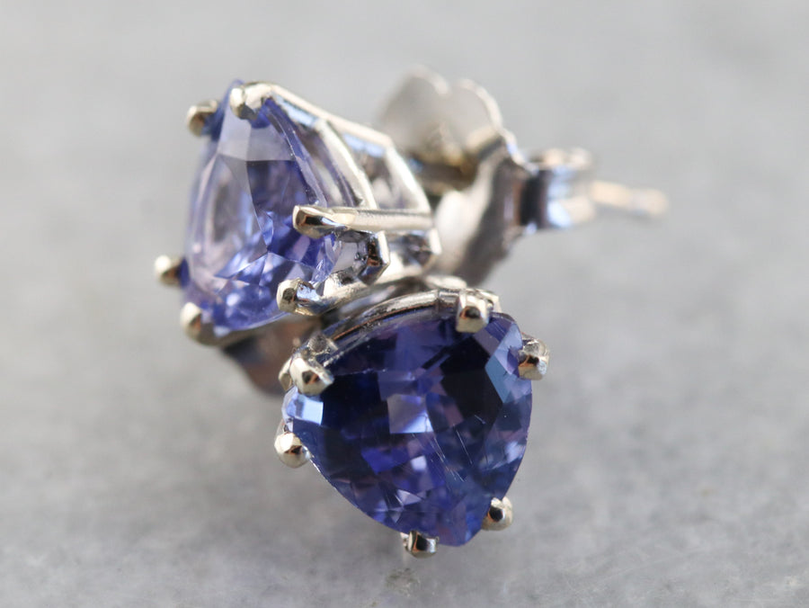 Trillion Cut Tanzanite Stud Earrings