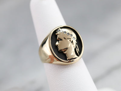 Julius Cesar Diamond Signet Ring