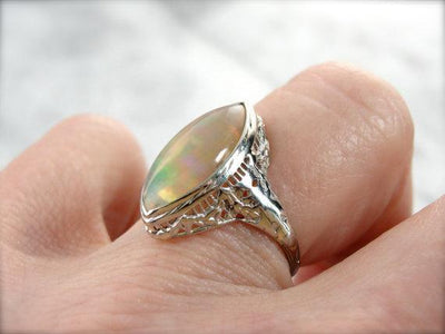 Marquise Cut Opal, White Gold Art Deco, Filigree Setting Ring