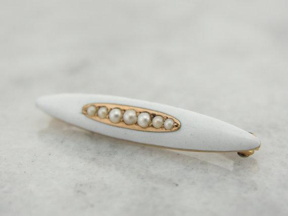 Vintage White Enamel and Fine Pearl Pin