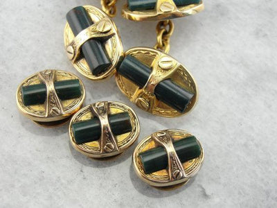 Bloodstone Tuxedo Shirt Studs for Gentleman or Lady
