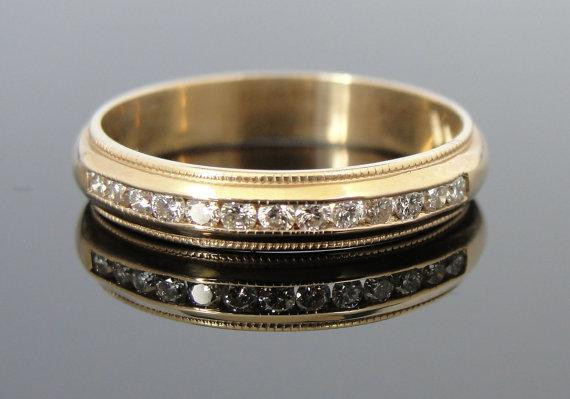 Milgrain Edge Diamond and Gold Wedding Band