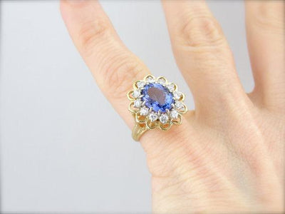 Tanzanite and Diamond Halo Cocktail Ring