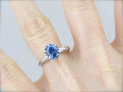 Blue Ceylon Sapphire, Classic Engagement Ring Solitaire