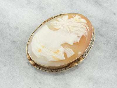 Yellow Gold Filigree Art Deco Cameo, Pendant or Pin