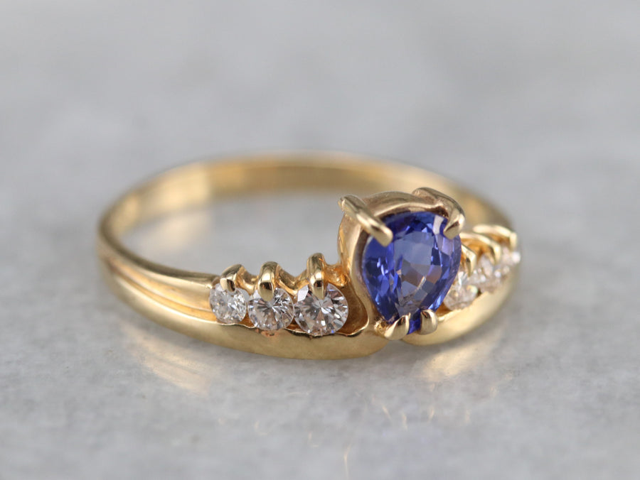 Pear Cut Tanzanite and Diamond Ring