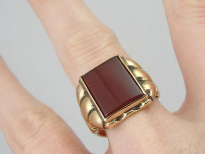 Retro Era Men's Carnelian Statement Ring