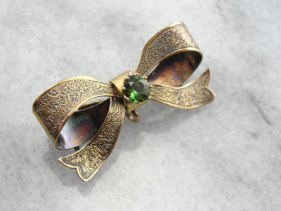 Sweet Heart Bow Brooch with Green Tourmaline