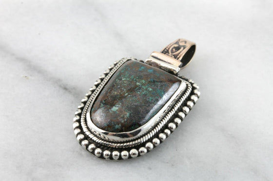 Chrysocolla Pendant with Victorian Elements