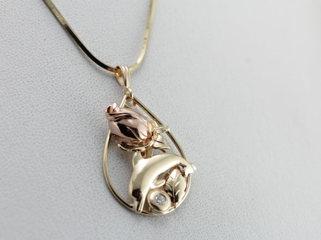 The Porpoise Rose, Sweet Multi Color Pendant with Diamond Accent