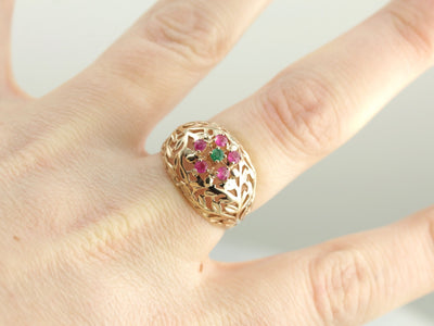 High Domed Leaf Motif Emerald and Ruby Cluster Ring