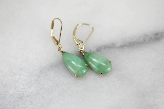 Soft Green Jadeite Drop Earrings in Gold
