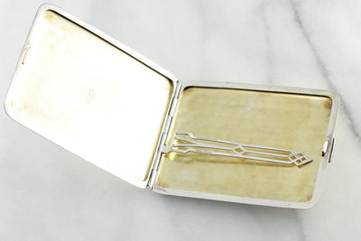 "Late Art Deco Monogramed ""MHN"" Cigarette Case, Solid Sterling Silver with Rose & Yellow Gold Accents"
