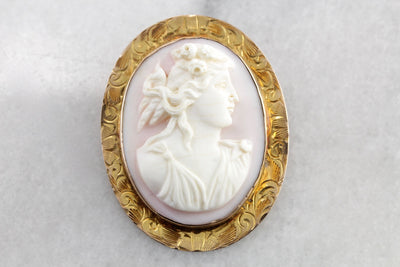 Antique Pink Conch Shell Cameo Brooch or Pendant, Caribbean Conch Shell from the Art Nouveau Era